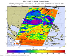 This image is from the Atmospheric Infrared Sounder instrument on NASA's Aqua satellite on Aug. 2, 2006 at 1:59 p.m. EDT.