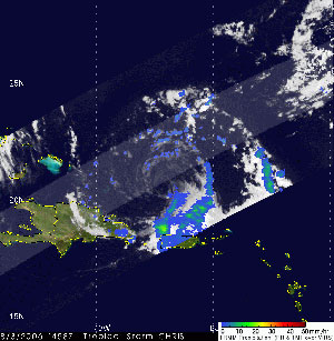 This image was created from the TRMM satellite on August 3, 2006 and shows a weakening tropical storm with few showers and thunderstorms near the storm center.