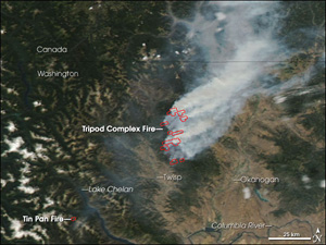 The Tripod Complex Fire, which started in late July, continued to burn in northern Washington in early August 2006.