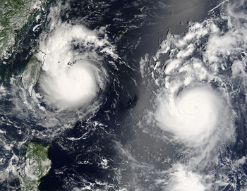 Saomai and Bopha were captured by the Terra satellite on August 8, 2006.