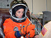 Mission Specialist Heidemarie Stefanyshyn-Piper checks her glove.