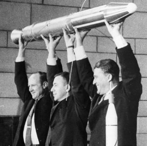 James Van Allen (center) celebrates the 1958 launch of Explorer I with William Pickering (left) and Wernher von Braun (right).