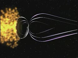 An artist's conception of a solar storm approaching Earth's magnetic field