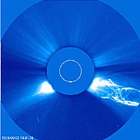 Produced by SOHO's Large Angle and Spectrometric Coronagraph, this image shows a coronal mass ejection spinning off from the sun.