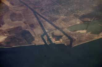 Suez Canal, Egypt is seen from the International Space Station.