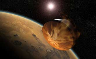 Artist concept of aerocapture entering Mars orbit