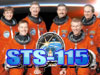 STS-115 in bold blues under the crew portrait
