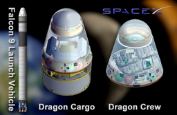 Image of Space X Falcon 9 Launch Vehicle and Dragon crew and cargo vehicle