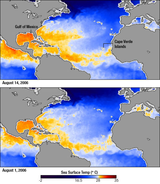 Image showing comparison of Sea Surface Temperatures from August 1 and August 14, 2006.