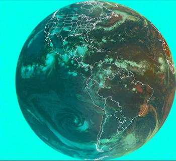 Image of two concurrent tropical storms/hurricanes taken by the GOES satellite.
