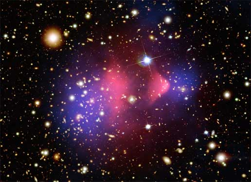Composite image of the galaxy cluster 1E 0657-56, also known as the bullet cluster.
