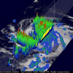 TRMM 3D image of Hurricane Ioke on August 21, 2006