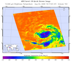 This is an infrared image of Tropical Depression Debby in the Atlantic, from the AIRS instrument on NASA's Aqua satellite on Aug. 22, 2006.