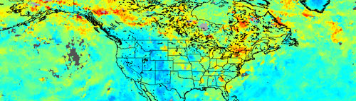 This image shows the total amount of carbon monoxide as measured by the Measurements of Pollution in the Troposphere instrument aboard NASA's Terra satellite.