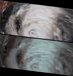 This image pair and animation from NASA's Multiangle Imaging SpectroRadiometer shows the massive cloud development associated with Katrina on August 27 as she moved west through the Gulf of Mexico.