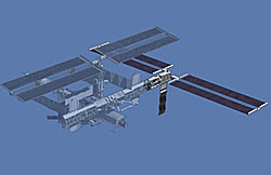 Computer-generated image of the space station, with the P3/P4 truss area highlighted