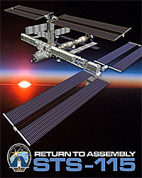 An artist conception of the ISS with the new trusses and solar panels in place. The words Return to Assembly STS-115 and the mission patch are at the bottom.