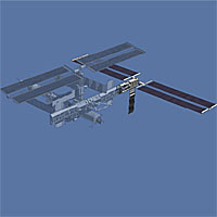 Illustration of the space station with the new trusses and solar arrays highlighted