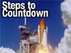 Picture of space shuttle launching and words Steps to Countdown