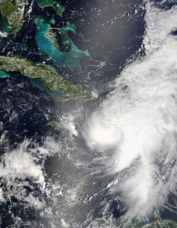 Hurricane Ernesto as seen by the Terra satellite on August 26, 2006.