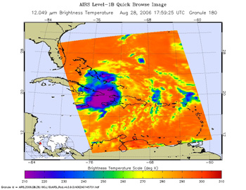 This is an infrared image of Tropical Storm Ernesto, from the Atmospheric Infrared Sounder on NASA's Aqua satellite on August 28, 2006.
