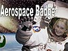 The words Aerospace Badge above a young girl in a white astronaut suit