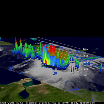 This image was taken from the Tropical Rainfall Measuring Mission  satellite and was taken at 7:34 am EDT on Aug. 26 as Ernesto was passing south of the Dominican Republic.