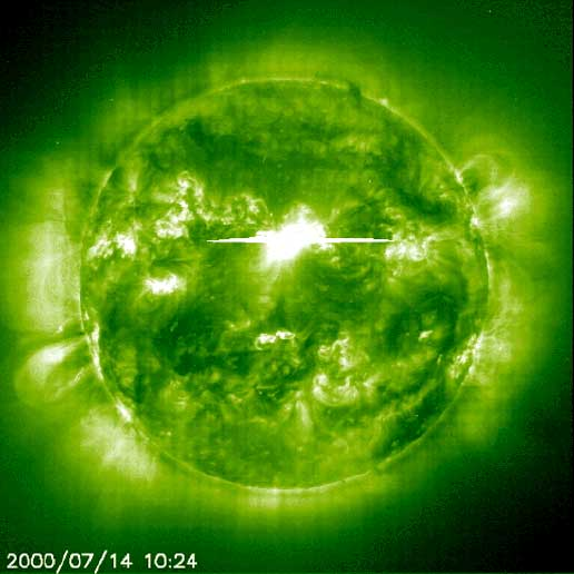 A powerful solar flare on July 14, 2000