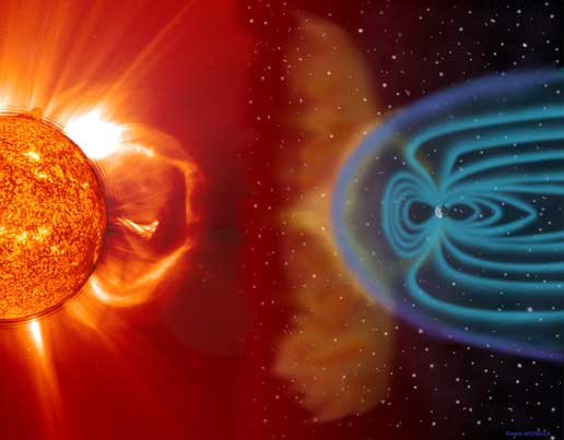 Artist concept of the impact of solar activity on Earth