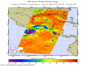 This is an infrared image of Tropical Storm Ernesto, from the Atmospheric Infrared Sounder  on NASA's Aqua satellite at 1:30 a.m. PDT on August 29, 2006.