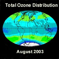Earth, showing amount of ozone