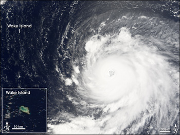 Terra MODIS image of Hurricane Ioke on August 29, 2006