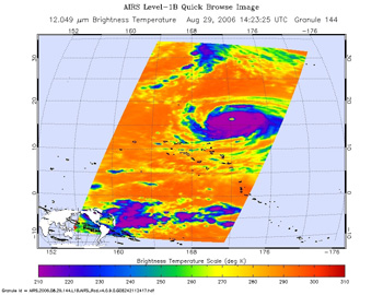 This is an infrared image of Typhoon Ioke, from the Atmospheric Infrared Sounder on NASA's Aqua satellite on August 29, 2006.