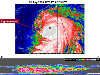 These two images are from two different satellites, giving a top down and sideway view of Typhoon Ioke in the northwest Pacific Ocean at 10:33 p.m. EDT Aug. 31, 2006.
