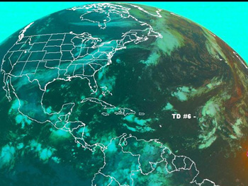 GOES image showing the start of Tropical Depression 6