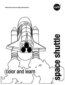 Line drawing of the space shuttle