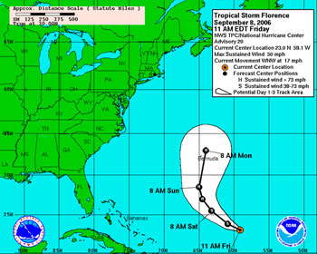 National Hurricane Center's forecast track for Tropical Storm Florence for the weekend of September 9 and 10, 2006.
