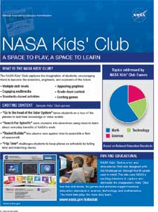 Words NASA Kids' Club at top of text, circular graph of Club Games topics, and photos of Kids' Club landing page and two boys using a computer