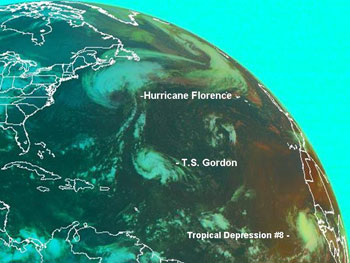 Hurricane Florence, Tropical Storm Gordon, and the newly formed Tropical Depression 8 can be seen in this satellite image from the National Oceanic and Atmospheric Administration's Geostationary Operational Environmental Satellite.