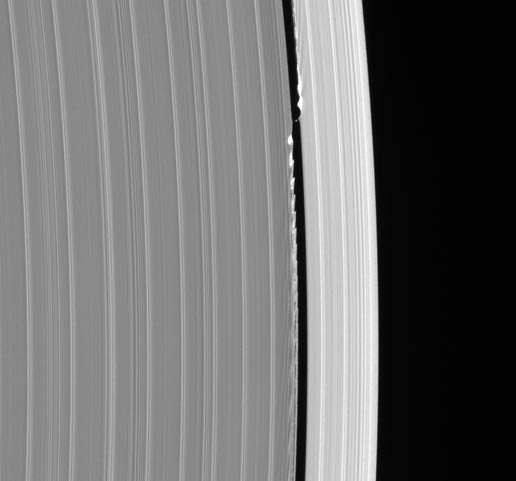 Tiny moon, Daphnis, in the outer edge of Saturn's A ring