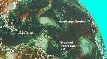 GOES image of Hurricane Gordon and Tropical Depression 8 on September 13, 2006