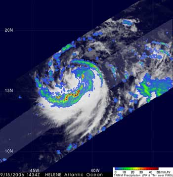 TRMM image of Tropical Storm Helene taken on September 15, 2006