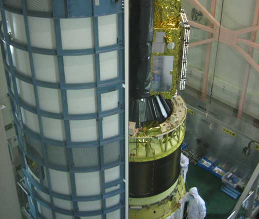 Solar-B is mounted to the third-stage motor of the rocket that will carry the satellite into space.