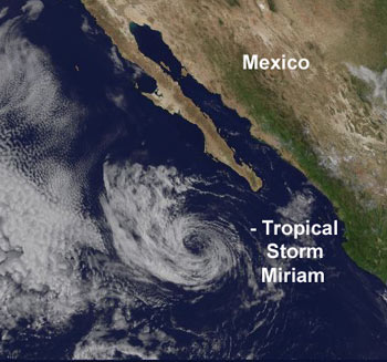 GOES satellite shows Tropical Storm Miriam on September 18, 2006.