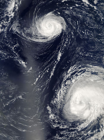 This image, taken Sept. 16 at 12:55 p.m. EDT is from Aqua.  Hurricane Gordon is pictured on the top part of the image, and Hurricane Helene appears in the lower part.