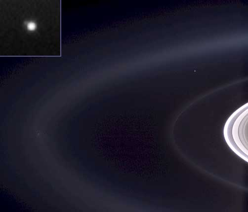 view of Earth along with view of Saturn's rings