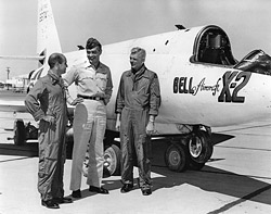 Air Force X-2 pilots beside the X-2 rocket plane.