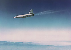 X-2 rocket plane accelerates in a dive.