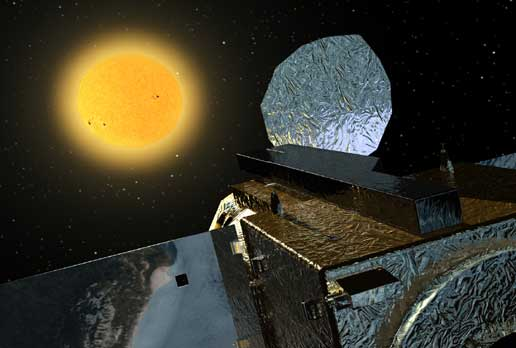 Artist concept of Solar-B during observation of the sun