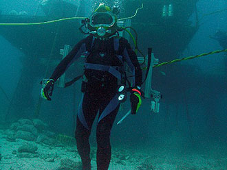 JSC2006-E-40693 -- A NEEMO 11 crew member participates in a session of EVA for the NEEMO project